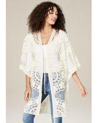 Bebe | White Embroidered Kimono Coat | Lyst