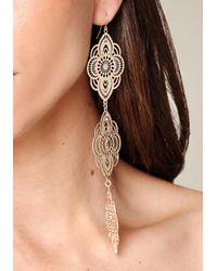 Bebe - Metallic Filigree 3-drop Earrings - Lyst