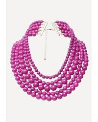 Bebe - Pink Beaded Layer Necklace - Lyst