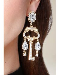 Bebe - Metallic Crystal Key Drop Earrings - Lyst