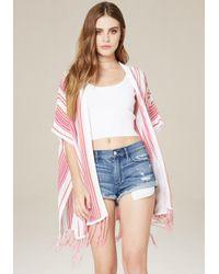 Bebe - Pink Striped Hooded Ruana - Lyst