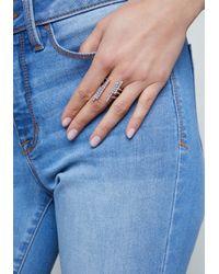 Bebe - Metallic Crystal Bars Ring - Lyst