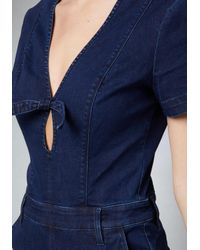 Bebe - Blue Bow Deep V Jumpsuit - Lyst