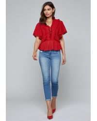 Bebe - Red Lace Up Detail Ruffled Top - Lyst