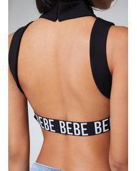 Bebe - Blue Logo Back Strap Crop Top - Lyst