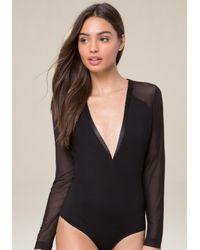 Bebe - Black Long Sleeve V-neck Bodysuit - Lyst