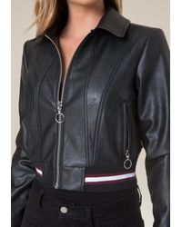 Bebe - Black Ribbed Faux Leather Jacket - Lyst