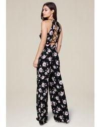 Bebe - Black Print Wide Leg Jumpsuit - Lyst