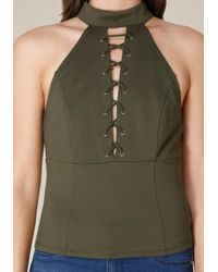 Bebe - Green Mock Neck Lace Up Top - Lyst