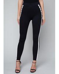 Bebe - Black Sporty Lace Up Leggings - Lyst