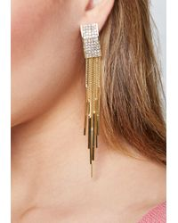 Bebe - Metallic Crystal Drop Earrings - Lyst