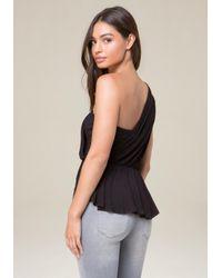 Bebe | Black Shirred One Shoulder Top | Lyst