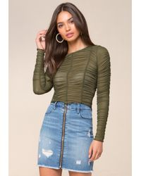 Bebe | Green Shirred Mesh Top | Lyst