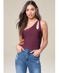 Bebe - Purple Knit One Shoulder Bodysuit - Lyst