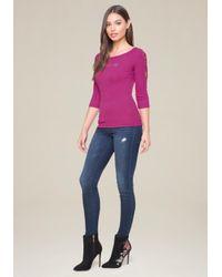 Bebe - Purple Logo Lace Up Sleeve Top - Lyst