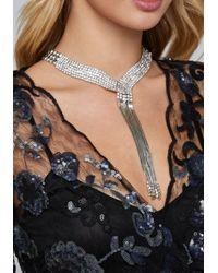 Bebe - Metallic Silver & Crystal Necklace - Lyst