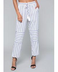 Bebe - Blue Mix Stripe Crop Pants - Lyst
