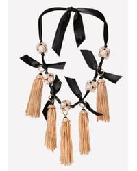 Bebe - Black Tassel Ribbon Necklace - Lyst