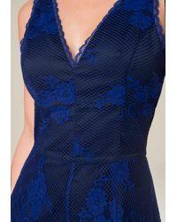 Bebe - Blue Lace V-neck Romper - Lyst