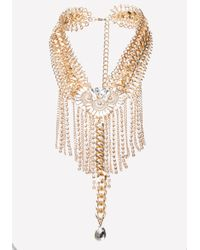 Bebe - Metallic Fringe Statement Necklace - Lyst