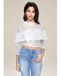 Bebe - White Lace Block Ruffled Top - Lyst