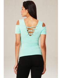 Bebe - Green Logo Lace Up Top - Lyst