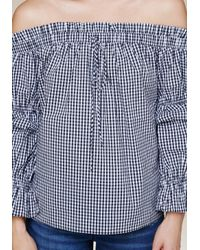 Bebe - Black Sandra Gingham Top - Lyst