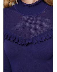 Bebe | Blue Mesh Yoke Dress | Lyst