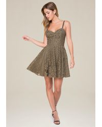 Bebe Multicolor Lace Fit & Flare Dress