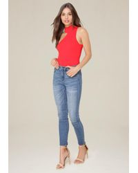 Bebe - Red One Shoulder Bodysuit - Lyst