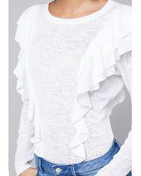 Bebe - White Shally Ruffled Top - Lyst