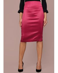 7148d6bb2e Bebe Satin Pencil Skirt in Pink - Lyst