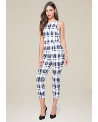 Bebe - Multicolor Plaid Open Back Jumpsuit - Lyst