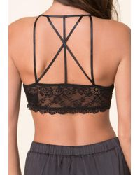 Bebe | Black Strappy Back Bralette | Lyst