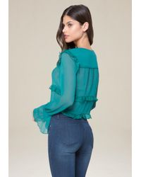 Bebe - Blue Tiered Ruffle Top - Lyst