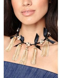 Bebe - Black Tassel Ribbon Necklace - Lyst