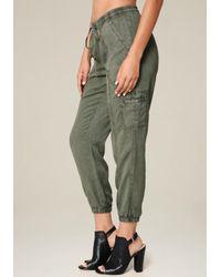 Bebe - Green Twill Cargo Jogger Pants - Lyst