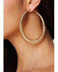 Bebe - Metallic Spiral Hoop Earrings - Lyst