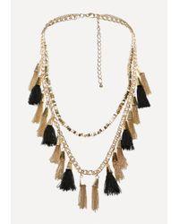 Bebe | Metallic Tassel Long Necklace | Lyst