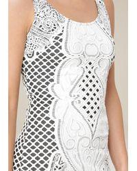 Bebe - White Jacquard Midi Dress - Lyst