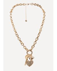 Bebe - Multicolor Logo Charm Necklace - Lyst