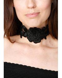 Bebe - Black Floral Lace Choker - Lyst