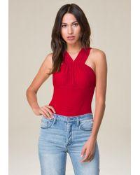 Bebe - Red Mesh Bodysuit - Lyst