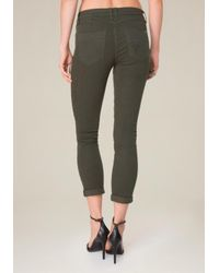 Bebe - Green Color Heartbreaker Jeans - Lyst