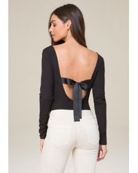 Bebe - Black Back Ribbon Tie Bodysuit - Lyst