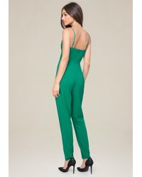 Bebe - Green Strappy Jumpsuit - Lyst
