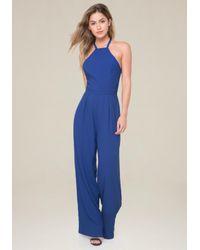 Bebe - Blue Wide Leg Jumpsuit - Lyst