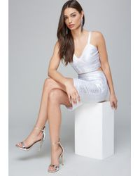 Bebe - White Foiled Bandage Top - Lyst