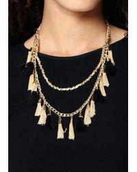 Bebe - Metallic Tassel Long Necklace - Lyst