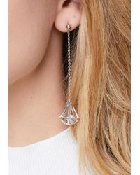 Bebe - Metallic Geo Crystal Drop Earrings - Lyst